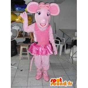 ροζ μασκότ χοίρων με χορό φούστα και αξεσουάρ