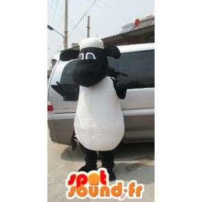 Schafe Maskottchen schwarz und weiß - Ideal für Werbeaktionen - MASFR00596 - Maskottchen Schafe