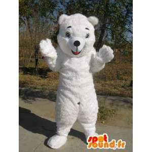 Mascotte Ours blanc - Déguisement de qualité en fibres