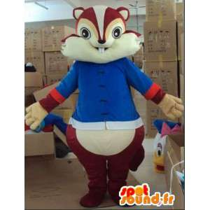 Squirrel mascot and tic tac brown with blue tunic