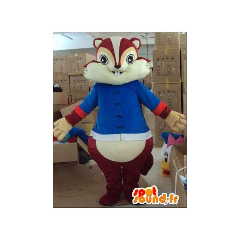 Mascotte d'écureuil marron tic et tac avec tunique bleue - MASFR00815 - Mascottes Ecureuil
