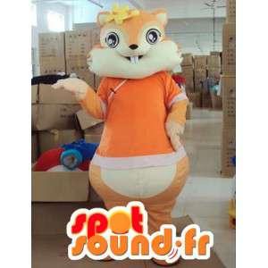 Mascot ardilla naranja con accesorios de la flor