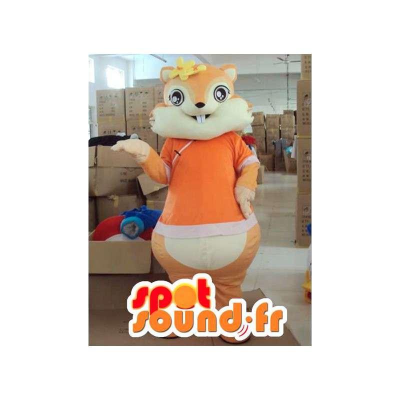 Mascotte scoiattolo con accessori di fiori d arancio - MASFR00816 - Scoiattolo mascotte