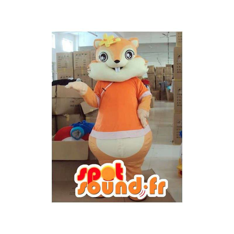 Squirrel mascot with orange flower accessories - MASFR00816 - Mascots squirrel