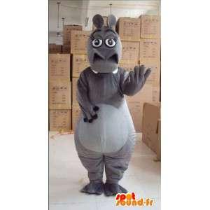 Grijs nijlpaard mascotte vrouw met handschoenen en accessoires
