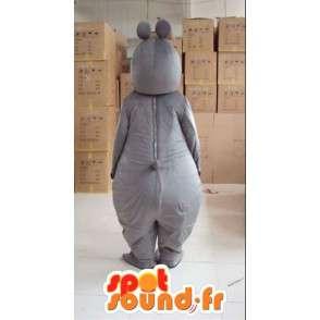 Grijs nijlpaard mascotte vrouw met handschoenen en accessoires - MASFR00817 - Hippo Mascottes