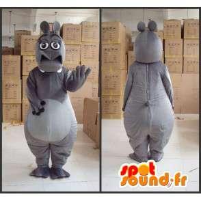 Mascotte hippopotame femme grise avec gants et accessoires - MASFR00817 - Mascottes Hippopotame