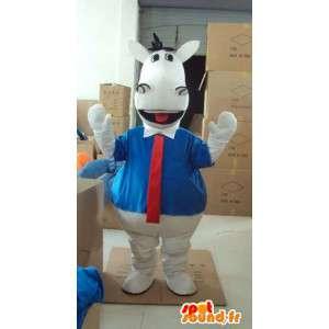 Biały koń maskotka z niebieską koszulę i czerwony krawat