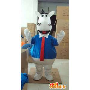 Wit paard mascotte met blauw shirt en rode stropdas