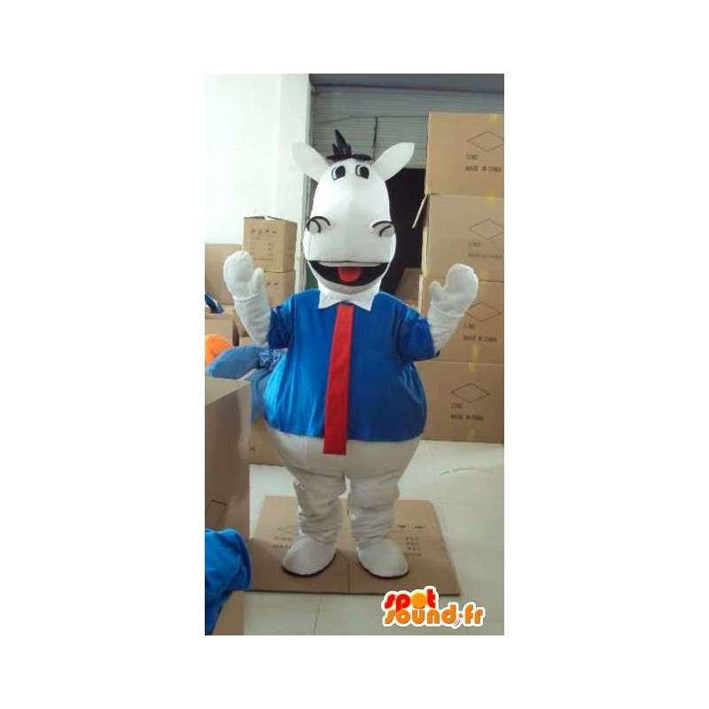 άσπρο άλογο μασκότ με το μπλε πουκάμισο και κόκκινη γραβάτα - MASFR00818 - μασκότ άλογο