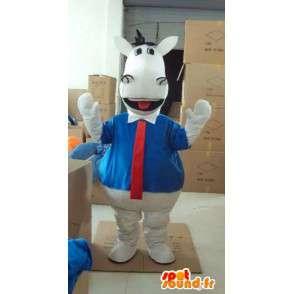 青いシャツと赤いネクタイと白い馬のマスコット - MASFR00818 - 馬のマスコット