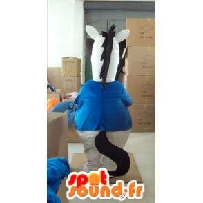 Wit paard mascotte met blauw shirt en rode stropdas - MASFR00818 - Horse mascottes