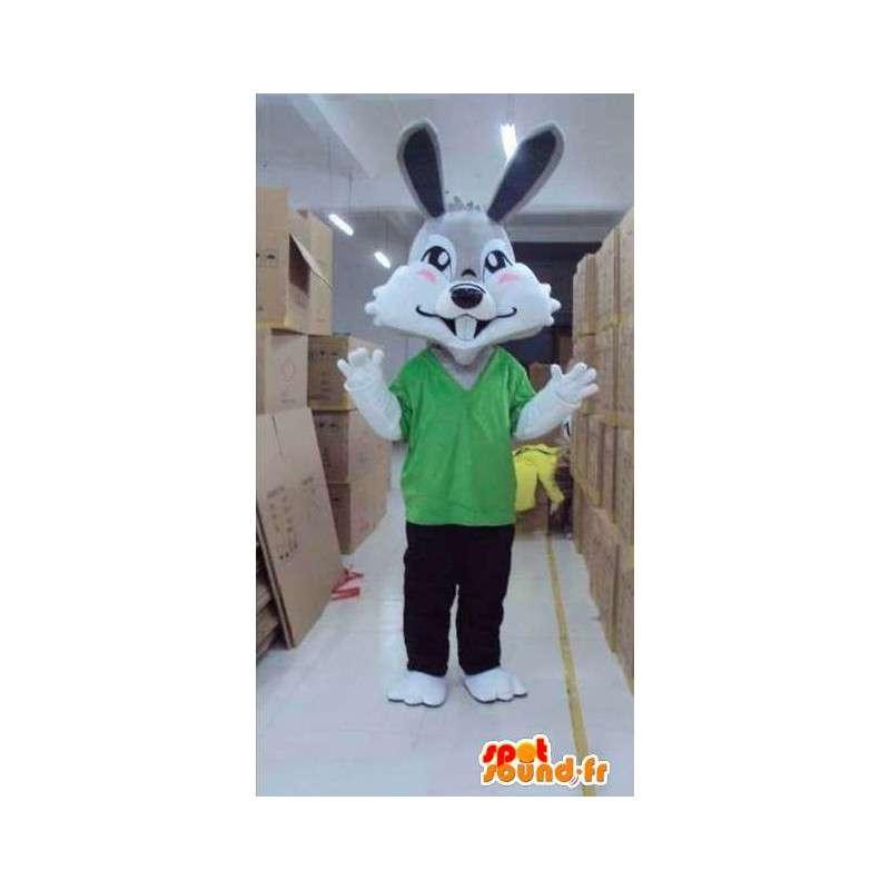 γκρι μασκότ κουνελιών με πράσινο t-shirt και παντελόνι - MASFR00819 - μασκότ κουνελιών