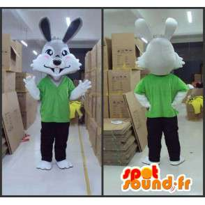 Gray rabbit mascot with green t-shirt and pants - MASFR00819 - Rabbit mascot