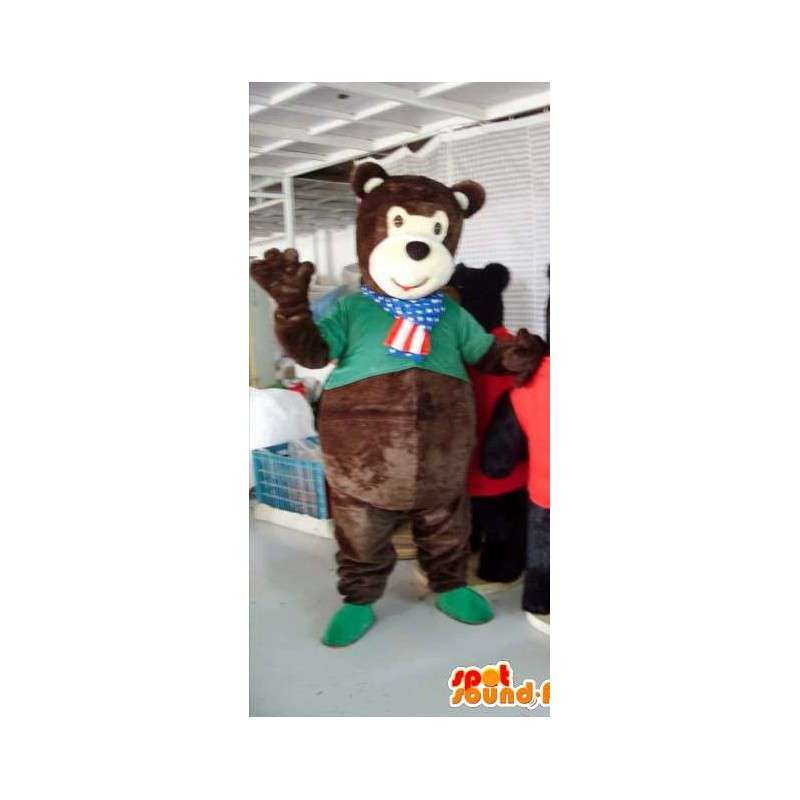 Maskot hnědý medvídek s zelené košili - MASFR00820 - Bear Mascot