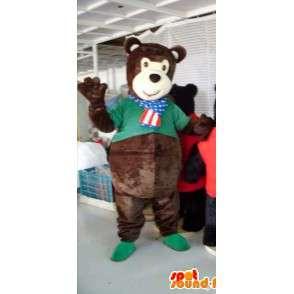 Mascot teddy bear brown with his shirt green - MASFR00820 - Bear mascot