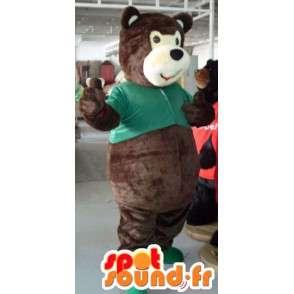 Mascot ruskea nalle, jossa on vihreä paita - MASFR00820 - Bear Mascot