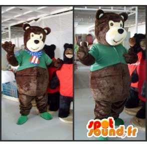 Bären-Maskottchen Plüsch braun mit einem grünen T-Shirt - MASFR00820 - Bär Maskottchen