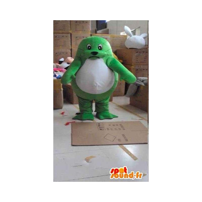 Palmate groene en witte zegel mascotte met toebehoren - MASFR00821 - mascottes Seal