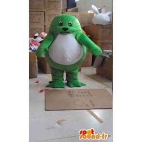Mascotte de phoque palmé vert et blanc avec accessoires - MASFR00821 - Mascottes Phoque