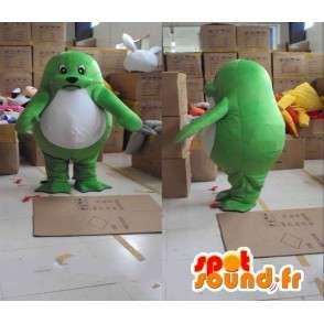 Palmate mascote selo verde e branco com acessórios - MASFR00821 - mascotes Seal