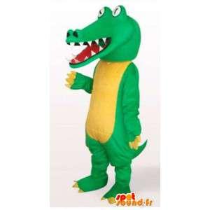 Mascotte de reptile style crocodile jaune et vert avec yeux blancs