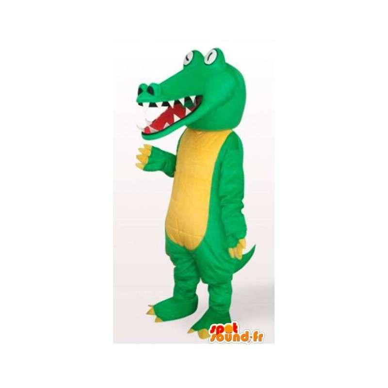 Mascotte de reptile style crocodile jaune et vert avec yeux blancs - MASFR00822 - Mascotte de crocodiles