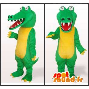 Reptielen mascotte stijl gele en groene alligator met witte ogen - MASFR00822 - Mascot krokodillen