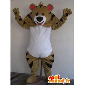 Mascotte de raton laveur marron et rayures noires - Envoi rapide