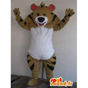 Raccoon Maskottchen braunen und schwarzen Streifen - Schneller Versand - MASFR00823 - Maskottchen von pups