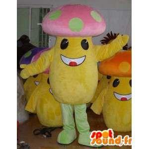 Multicolore mascotte fungo - Personalizzabile