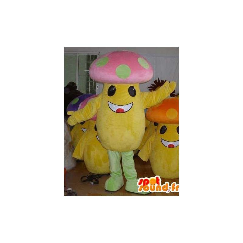 Multicolored mushroom head mascot - Customizable - MASFR00824 - Mascot of vegetables