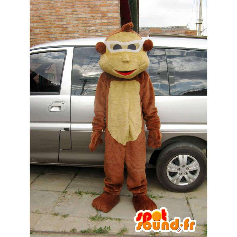 καφέ χώρο μασκότ πίθηκος με τα γυαλιά του, - MASFR00826 - Πίθηκος Μασκότ