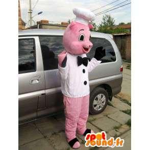 Rosa gris maskot stil kokk - Heads - MASFR00827 - Pig Maskoter