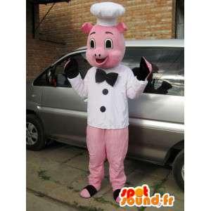 ピンクのブタのマスコットスタイルのシェフ - ヘッド