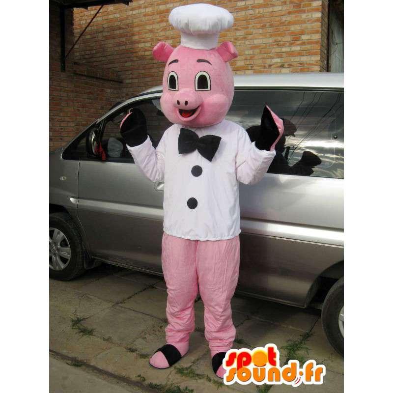 ピンクのブタのマスコットスタイルのシェフ - ヘッド - MASFR00827 - 豚マスコット