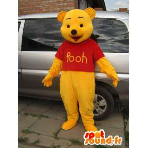 Winnie the Pooh mascotte giallo e rosso - Inglese o francese - MASFR00828 - Mascotte Winnie i Pooh