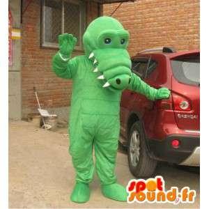 Mascot lichtgroen alligator met grote tanden - Costume