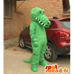 Mascotte d'alligator vert clair avec grandes dents – Costume - MASFR00829 - Mascottes Crocodile