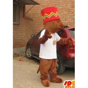 Mascotte écureuil géant avec grand chapeau afro