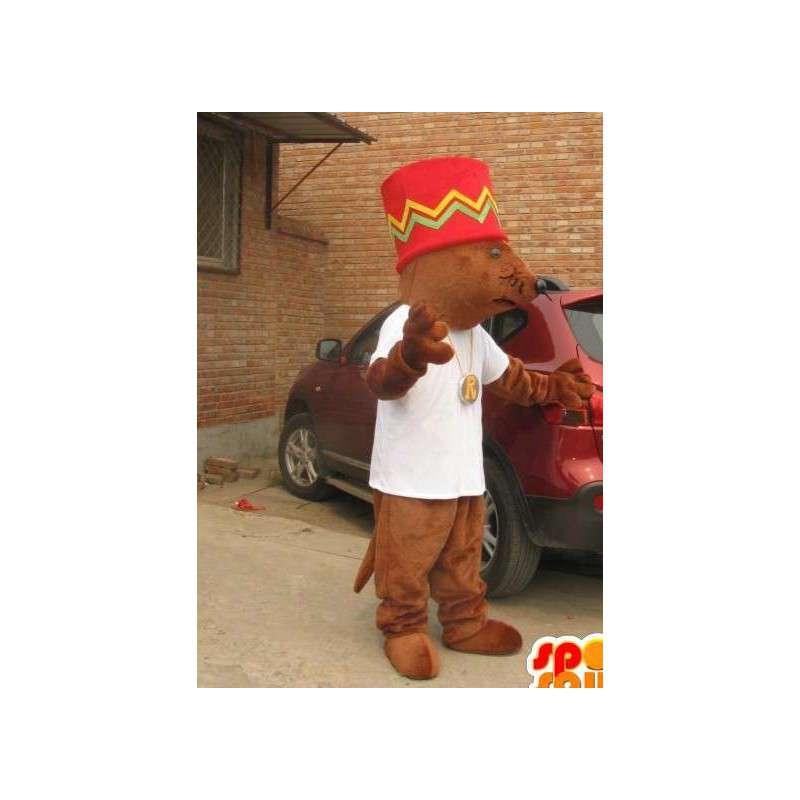 Riesen-Eichhörnchen-Maskottchen mit großen afro-Hut - MASFR00830 - Maskottchen Eichhörnchen