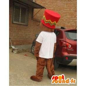 Mascotte écureuil géant avec grand chapeau afro - MASFR00830 - Mascottes Ecureuil
