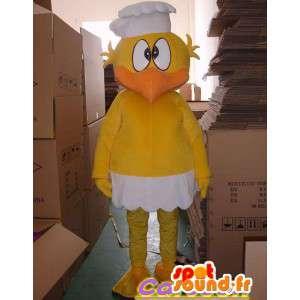 Canário mascote amarelo com o chapéu chefe
