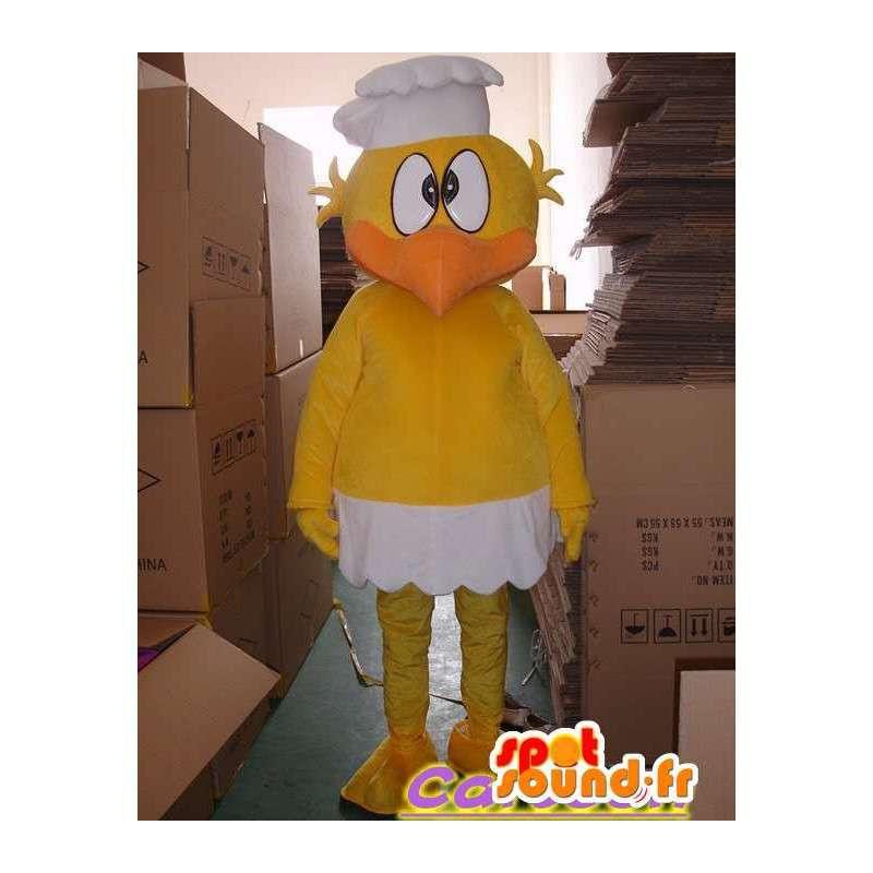 Mascotte de canari jaune avec son chapeau de chef - MASFR00832 - Mascotte de canards