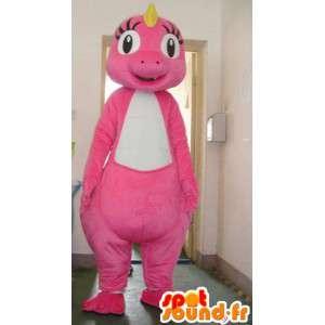 Mascot pálido dinosaurio de color rosa con la cresta amarilla - Traje