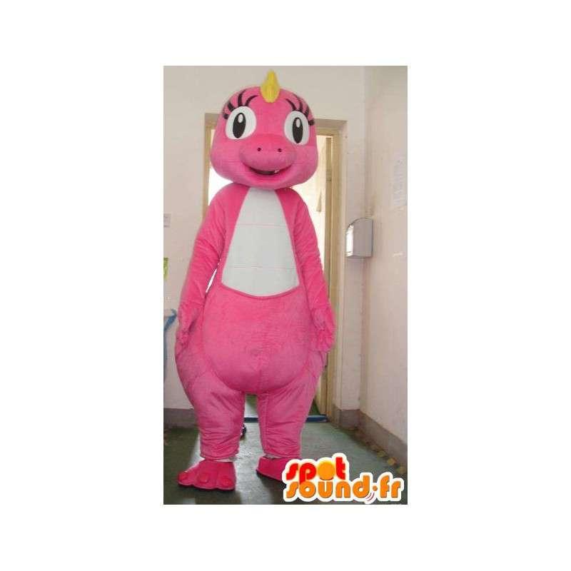 Mascot pálido dinosaurio de color rosa con la cresta amarilla - Traje - MASFR00833 - Dinosaurio de mascotas