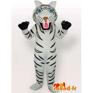 Mascotte van de tijger met witte en zwarte handschoenen accessoires