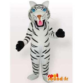 Mascotte tigre rayé blanc et noir avec gants en accessoires - MASFR00574 - Mascottes Tigre