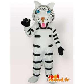 Mascotte van de tijger met witte en zwarte handschoenen accessoires - MASFR00574 - Tiger Mascottes