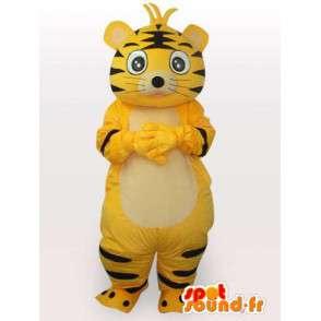 Mascot gelb und schwarz gestreifte Katze - Plüsch-Katzen-Kostüm - MASFR00554 - Katze-Maskottchen